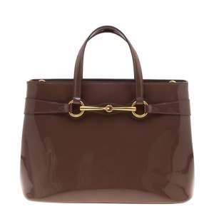 Gucci Brown Patent Leather Medium Bright Bit Top Handle Bag
