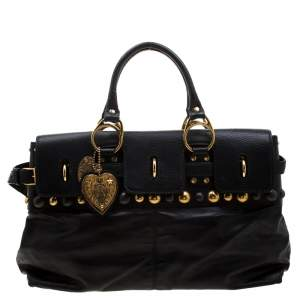 Gucci Black Leather Babouska Belted Tote