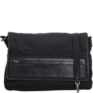 Gucci Black Canvas Leather Messenger Bag