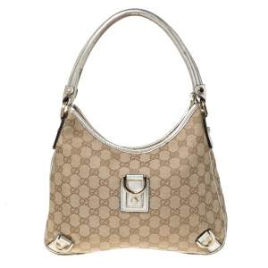 Gucci Beige/Gold GG Canvas Small Abbey D Ring Hobo