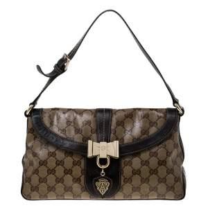 حقيبة كتف غوتشي Duchessa  صغيرة جلد وكانفاس كريستال GG بنية/ بيج