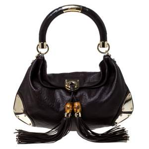 Gucci Brown Guccissima Leather Small Indy Top Handle Hobo Bag