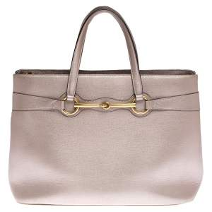 Gucci Metallic Beige Leather Bright Bit Tote