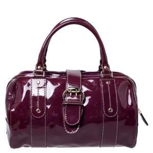 Gucci Burgundy Patent Leather Vanity Bowler Bag