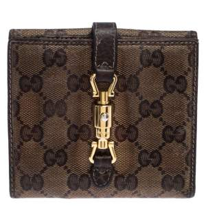 Gucci Beige/Brown GG Crystal Canvas Jackie Compact Wallet