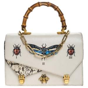 Gucci Cream Python and Leather Ottilia Bee Printed Bamboo Top Handle Bag