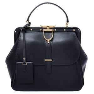 Gucci Black Leather Large Limited Edition Lady Stirrup Satchel