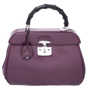 Gucci Purple Patent Leather Lady Lock Bamboo Large Top Handle Bag