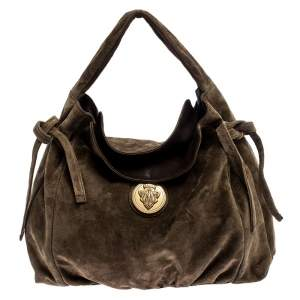 Gucci Khaki Suede Hysteria Medium Hobo