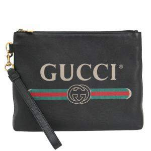 Gucci Black Leather GG Clutch Bag