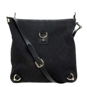 Gucci Black GG Canvas and Leather Abbey Messenger Bag
