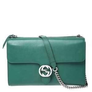 حقيبة كتف غوتشي GG متشابك متوسطة جلد خضراء