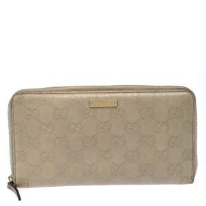 Gucci Beige Guccissima Leather Zip Around Wallet Organizer