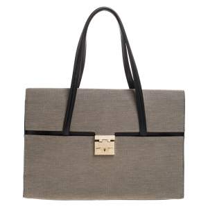 Gucci Grey Canvas and Leather Lady Lock Flap Tote