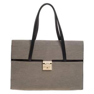 حقيبة يد غوتشي قلاب Lady Lock جلد وكانفاس رمادية