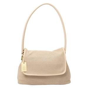 Gucci Beige Perforated Leather Shoulder Bag with Pouch