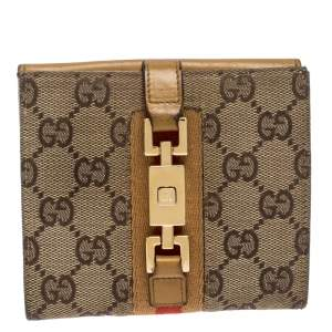Gucci Tan/Beige GG Canvas and Leather Jackie Compact Wallet