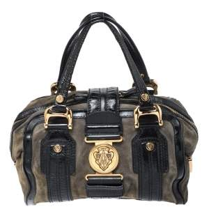 Gucci Black/Khaki Green Suede and Patent Leather Aviatrix Boston Bag