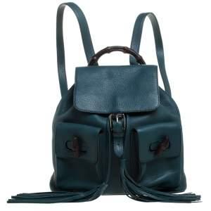 Gucci Dark Green Leather Bamboo Sac Backpack