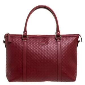 حقيبة يد غوتشي Margaux جلد مايكروغوتشيسيما حمراء