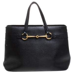 Gucci Black Leather Horsebit Tote