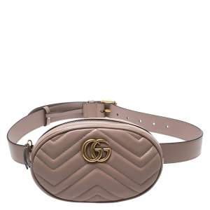 Gucci Biege Matelasse Leather GG Marmont Belt Bag