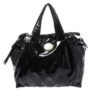 حقيبة غوتشي Hysteria  كبيرة جلد لامعة سوداء