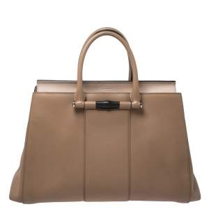 Gucci Beige Leather Lady Bamboo Top Handle Bag