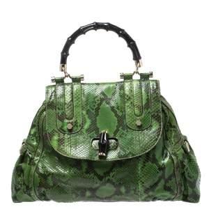 حقيبة غوتشي يد علوية Dialux Pop Bamboo جلد ثعبان خضراء