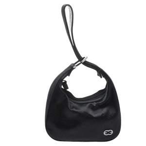 Escada Black Satin Crystal Logo Embellished Bag