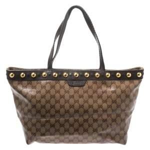 Gucci Beige/Ebony GG Crystal Canvas and Leather Medium Babouska Tote