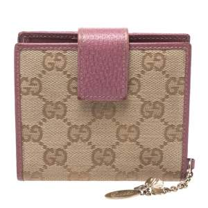 Gucci Beige/Pink GG Canvas Compact Wallet