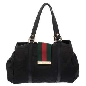 حقيبة يد غوتشي ويب New Ladies صغيرة كانفاس GG سوداء