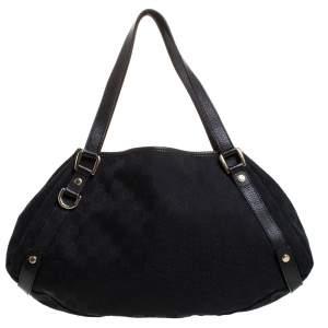Gucci Black GG Canvas and Leather Medium Jacquard Pelham Shoulder Bag