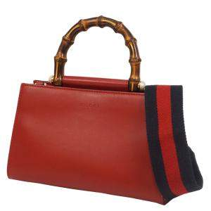 Gucci Red Leather Mini Nymphaea Bamboo Satchel Bag
