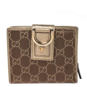 Gucci Brown/Metallic Gold GG Canvas Abbey D Ring Compact Wallet