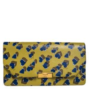 Gucci Yellow/Blue Heart Beat Print Leather Flap Clutch