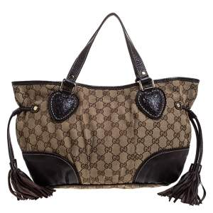 Gucci Beige/Brown GG Canvas and Leather Tribeca Satchel