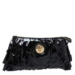 Gucci Black Patent Leather Large Hysteria Clutch