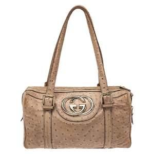 Gucci Beige Ostrich  Dialux Britt Boston Bag