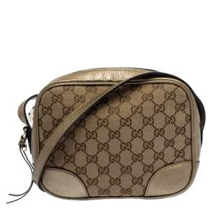 Gucci Beige/Gold GG Canvas and Leather Crossbody Bag