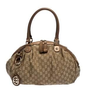 Gucci Metallic Rose Gold GG Canvas and Leather Medium Sukey Boston Bag