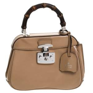 Gucci Beige Leather Lady Lock Bamboo Top Handle Bag