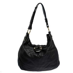 Gucci Black Leather Medium G Wave Hobo
