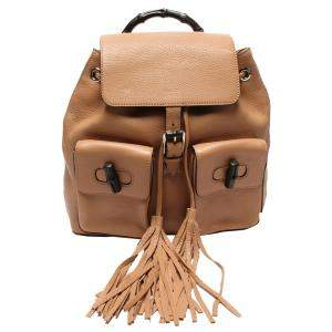 حقيبة ظهر غوشتي بامبو شراشيب جلد بنية
