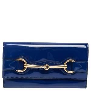 محفظة غوتشي كونتينتال هورسبيت جلد لامع أزرق