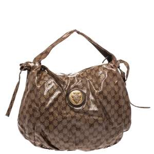 Gucci Beige GG Crystal Canvas Hysteria Hobo