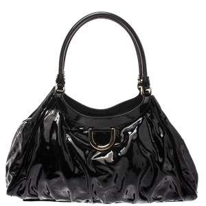 Gucci Black Patent Leather Large D Ring Hobo
