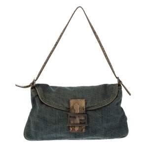 Fendi Blue Denim and Python Mama Baguette Bag