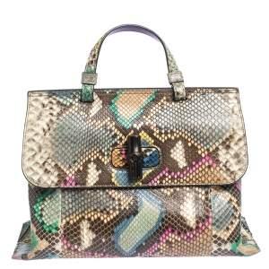 Gucci Multicolor Python Medium Bamboo Daily Top Handle Bag